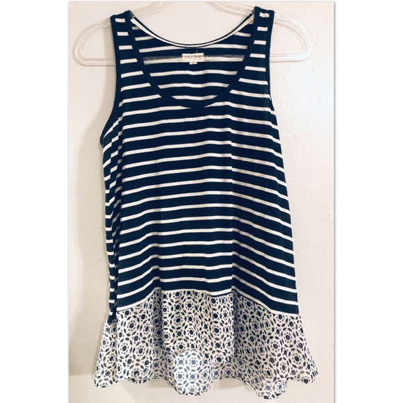 Maison Jules Tops - Cute Navy and White Striped Tank Top